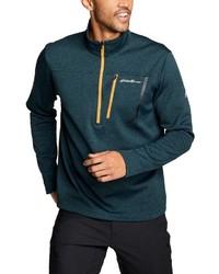 dunkeltürkiser Fleece-Pullover mit einem Reißverschluss am Kragen von Eddie Bauer