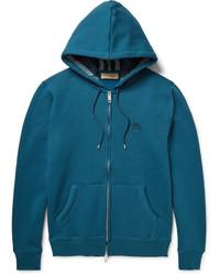 dunkeltürkiser Pullover mit einem Kapuze