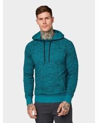 dunkeltürkiser Pullover mit einem Kapuze von Tom Tailor Denim
