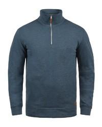 dunkeltürkiser Pullover mit einem Reißverschluss am Kragen von BLEND