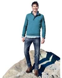 dunkeltürkiser Pullover mit einem Reißverschluss am Kragen von Classic