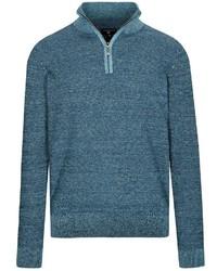 dunkeltürkiser Pullover mit einem Reißverschluss am Kragen von COMMANDER