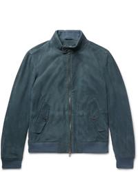 dunkeltürkiser Pullover mit einem Reißverschluß von Hugo Boss