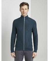 dunkeltürkiser Pullover mit einem Reißverschluß von Tom Tailor