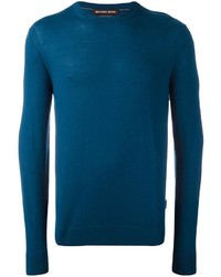 dunkeltürkiser Pullover mit einem Rundhalsausschnitt