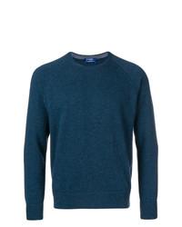dunkeltürkiser Pullover mit einem Rundhalsausschnitt von Barba