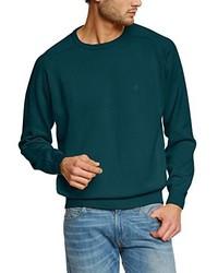 dunkeltürkiser Pullover mit einem Rundhalsausschnitt von Casamoda