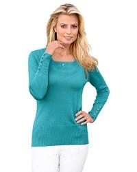 dunkeltürkiser Pullover mit einem Rundhalsausschnitt von CLASSIC INSPIRATIONEN