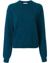 dunkeltürkiser Pullover mit einem Rundhalsausschnitt von Dusan