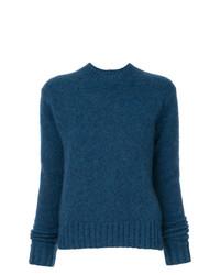 dunkeltürkiser Pullover mit einem Rundhalsausschnitt von Helmut Lang