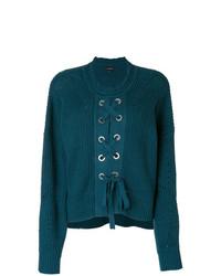 dunkeltürkiser Pullover mit einem Rundhalsausschnitt von Isabel Marant