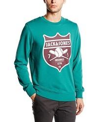 dunkeltürkiser Pullover mit einem Rundhalsausschnitt von Jack & Jones
