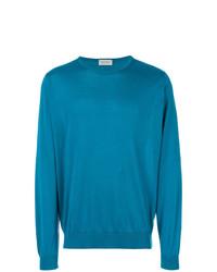 dunkeltürkiser Pullover mit einem Rundhalsausschnitt von John Smedley