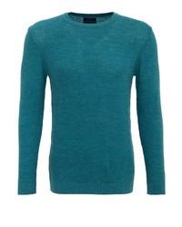 dunkeltürkiser Pullover mit einem Rundhalsausschnitt von Lufian