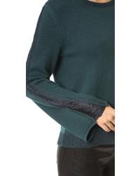 dunkeltürkiser Pullover mit einem Rundhalsausschnitt von Ramy Brook