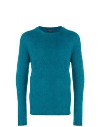 dunkeltürkiser Pullover mit einem Rundhalsausschnitt von Roberto Collina