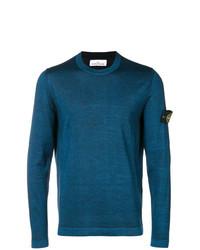 dunkeltürkiser Pullover mit einem Rundhalsausschnitt von Stone Island