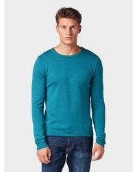 dunkeltürkiser Pullover mit einem Rundhalsausschnitt von Tom Tailor