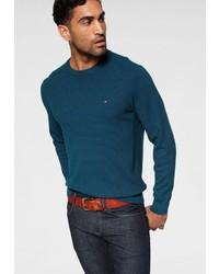 dunkeltürkiser Pullover mit einem Rundhalsausschnitt von Tommy Hilfiger