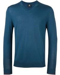 dunkeltürkiser Pullover mit einem V-Ausschnitt