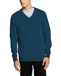 dunkeltürkiser Pullover mit einem V-Ausschnitt von Crew Clothing