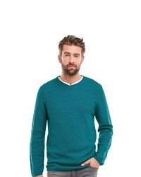 dunkeltürkiser Pullover mit einem V-Ausschnitt von ENGBERS