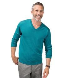 dunkeltürkiser Pullover mit einem V-Ausschnitt von MARCO DONATI