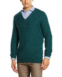 dunkeltürkiser Pullover mit einem V-Ausschnitt von Scalpers