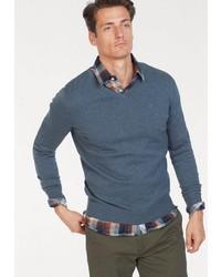 dunkeltürkiser Pullover mit einem V-Ausschnitt von Tom Tailor