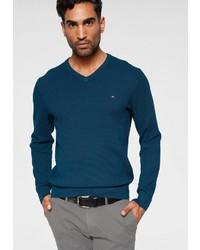 dunkeltürkiser Pullover mit einem V-Ausschnitt von Tommy Hilfiger