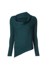 dunkeltürkiser Pullover mit einer weiten Rollkragen von Tome