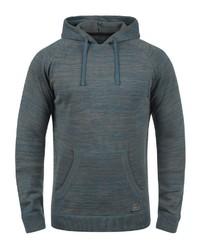dunkeltürkiser Strick Pullover mit einem Kapuze von BLEND