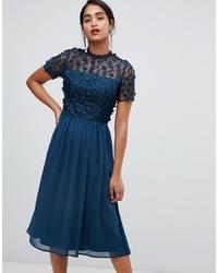 dunkeltürkises ausgestelltes Kleid aus Tüll von Chi Chi London