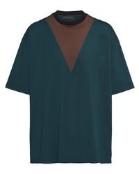 dunkeltürkises bedrucktes T-Shirt mit einem Rundhalsausschnitt von Prada