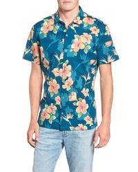 dunkeltürkises Kurzarmhemd mit Blumenmuster