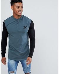 dunkeltürkises Langarmshirt mit einer Knopfleiste von Siksilk