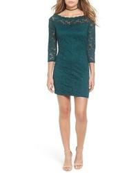 dunkeltürkises Spitze figurbetontes Kleid