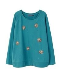 dunkeltürkises Sweatshirt von Mango