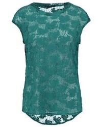 dunkeltürkises T-Shirt mit einem Rundhalsausschnitt von Sisley