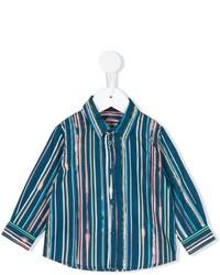 dunkeltürkises vertikal gestreiftes Langarmhemd von Paul Smith