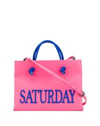 fuchsia bedruckte Shopper Tasche aus Leder von Alberta Ferretti