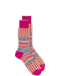 fuchsia bedruckte Socken