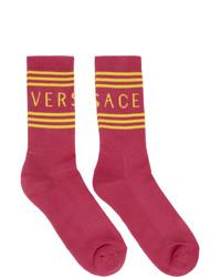 fuchsia bedruckte Socken von Versace