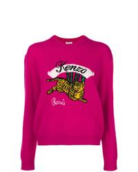 fuchsia bedruckter Pullover mit einem Rundhalsausschnitt von Kenzo