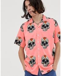 fuchsia bedrucktes Kurzarmhemd von Dickies