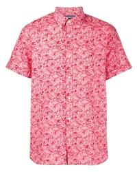 fuchsia bedrucktes Kurzarmhemd von Tommy Hilfiger