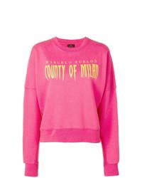 fuchsia bedrucktes Sweatshirt von Marcelo Burlon County of Milan