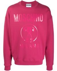 fuchsia bedrucktes Sweatshirt von Moschino