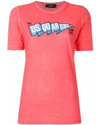fuchsia bedrucktes T-Shirt mit einem Rundhalsausschnitt