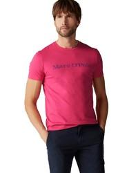 fuchsia bedrucktes T-Shirt mit einem Rundhalsausschnitt von Marc O'Polo